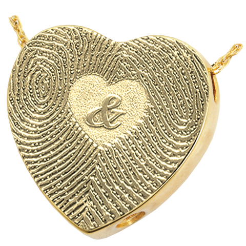 Double Fingerprint with Ampersand Heart Cremation Pendant