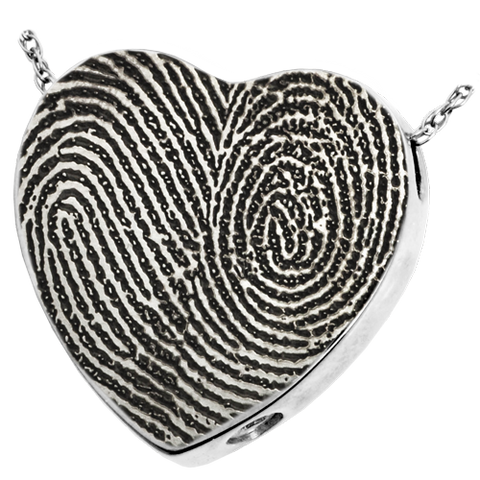 Double Fingerprint Heart Cremation Pendant