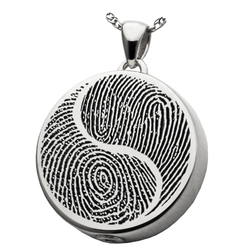 Double Fingerprint Yin Yang Round Cremation Pendant