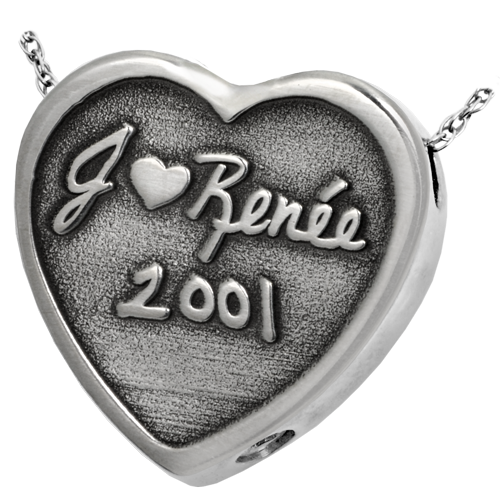 3D Engraved Heart Cremation Pendant