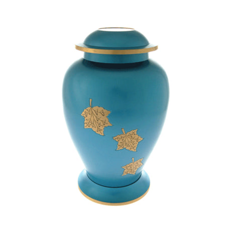 Blue Falling Leaves Urn