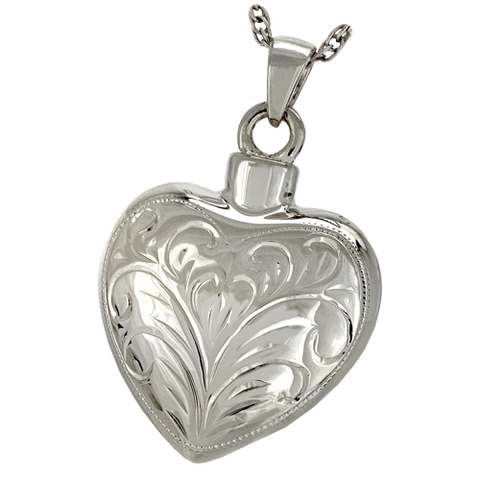 Etched Heart Cremation Pendant