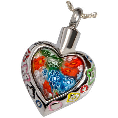 Heart Glass Art Cremation Pendant