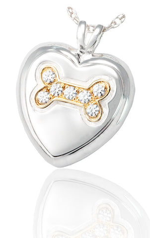 Dog Bone Heart Cremation Pendant