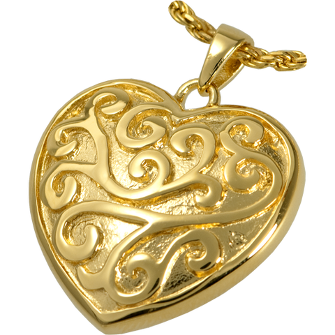 Scroll Filigree Heart Cremation Pendant