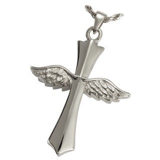 Angel Wing Cross Cremation Ash Pendant Necklace