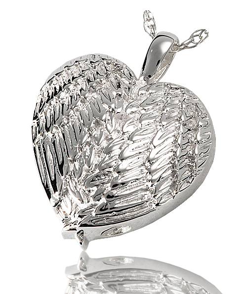 Angel Wing Heart Cremation Pendant