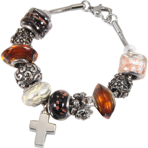 Autumn Gold Glass Remembrance Bead Bracelet