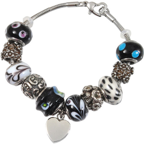 Black and White Glass Remembrance Bead Bracelet