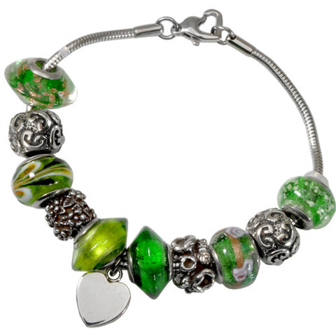 Emerald Green Glass Remembrance Bead Bracelet