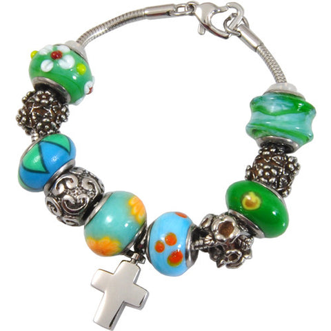 Eternal Green Glass Remembrance Bead Bracelet