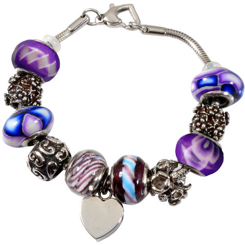 Forever Purple Glass Remembrance Bead Bracelet