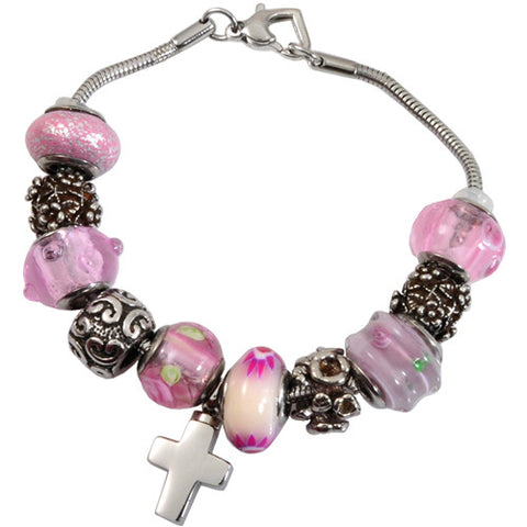 Memorial Pink Glass Remembrance Bead Bracelet