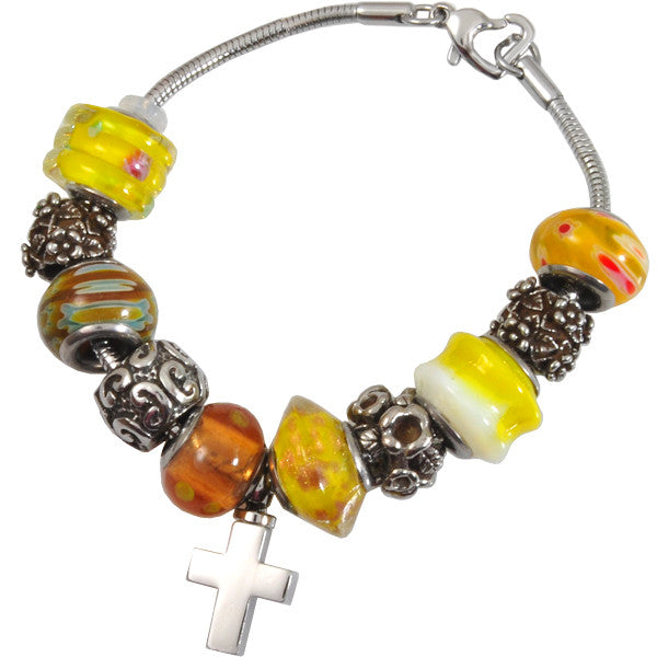 sunshine-yellow-glass-remembrance-bead-bracelet-keepsake-jewellery-for-ashes-memorial