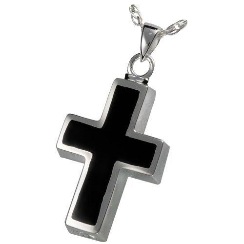 Black Inlay Cross Cremation Pendant