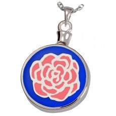 Blue Pink Rose Cremation Pendant