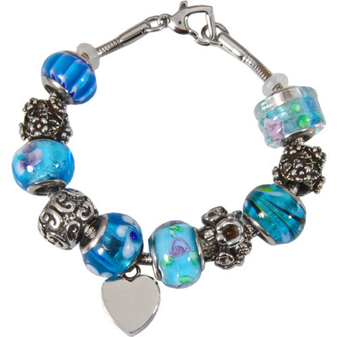 Celestial Blue Glass Remembrance Bead Bracelet