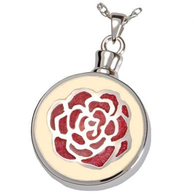 Cream Red Rose Cremation Pendant