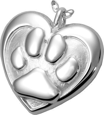 Double Heart Paw Cremation Pendant