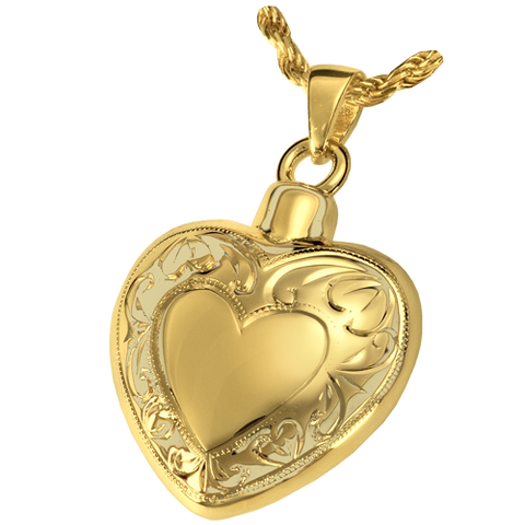 Double Etched Heart Cremation Pendant
