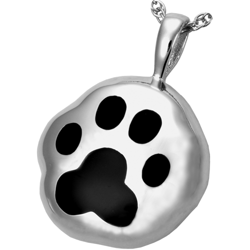 Hammered Paw Cremation Pendant