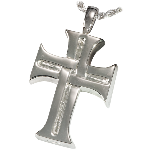 Mens Cross Cremation Pendant
