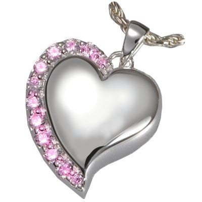 Pink Shine Heart Cremation Pendant