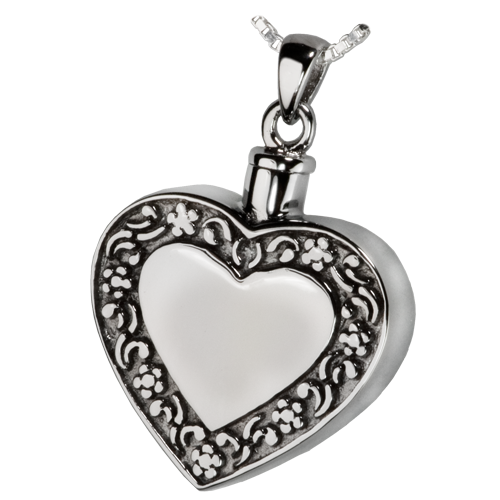 Rimmed Heart Cremation Pendant