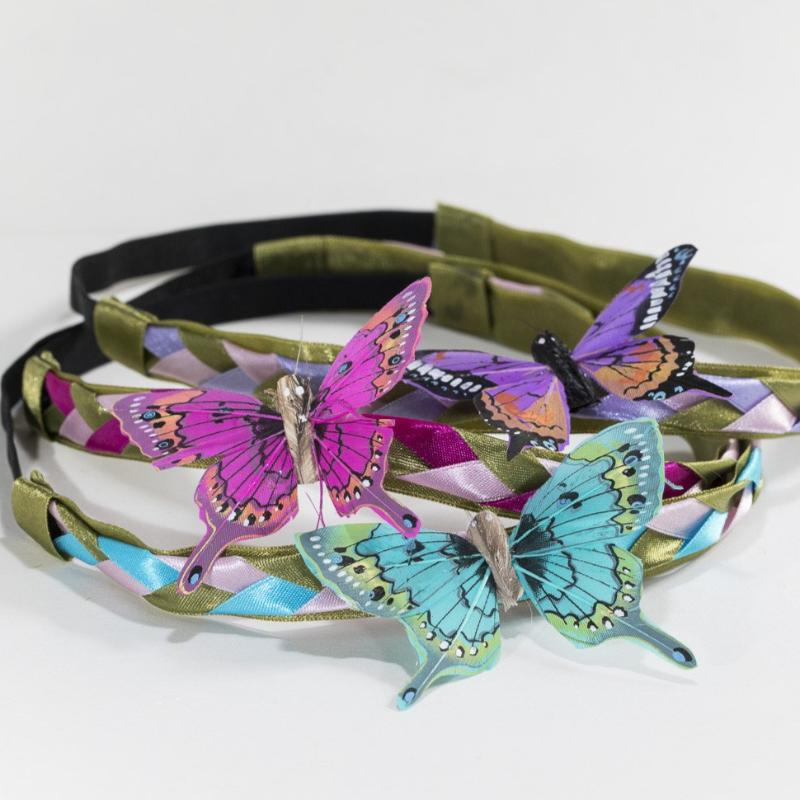 Plaited butterfly headband