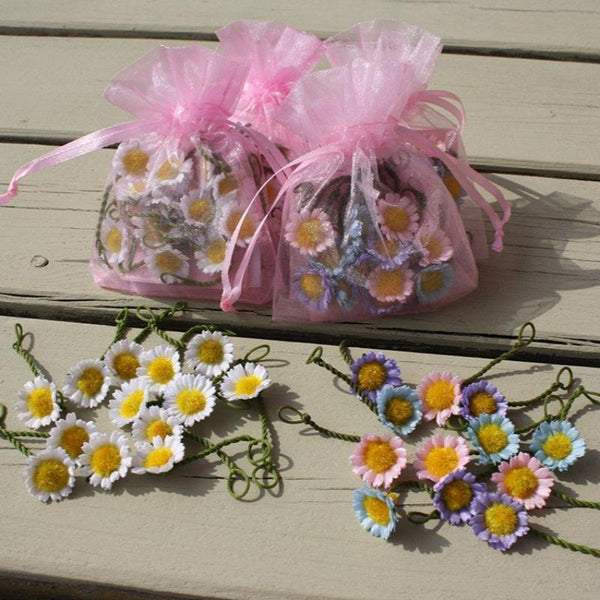 Pink Organza Daisy Bags  - daisies available in white, pastel or pink