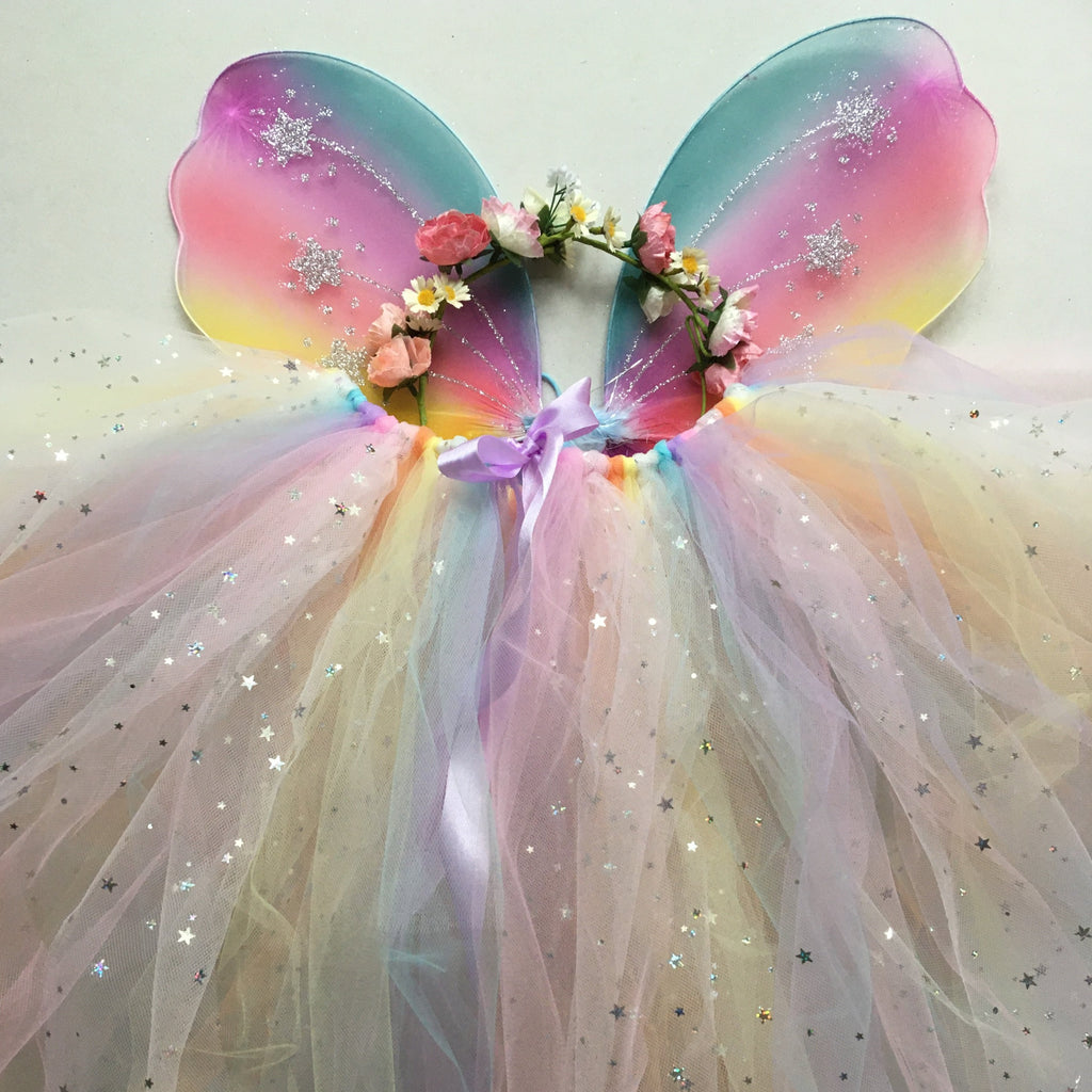 Handmade Flower Fairy Sets - sparkle star pink/pastel rainbow- Longer length