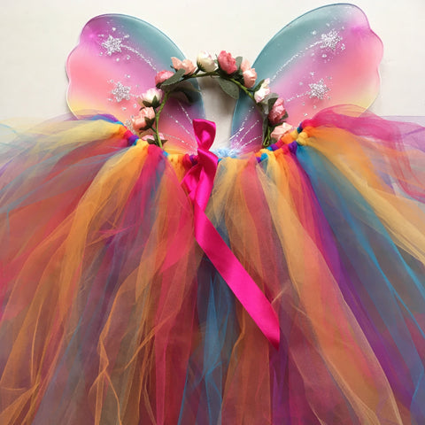 Handmade Flower Fairy Sets - Rainbow/pastel rainbow - Longer length