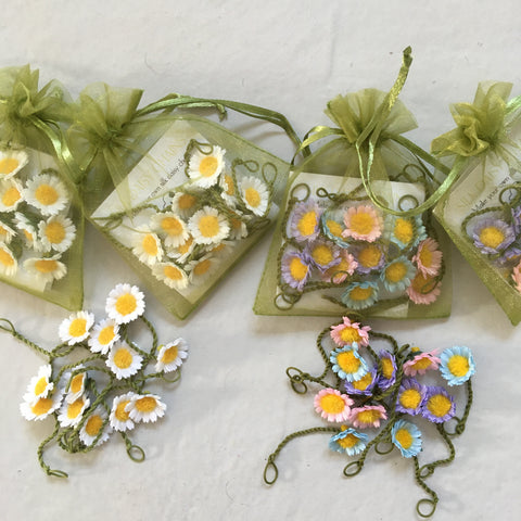 Green Organza Daisy Bags  - daisies available in white, pastel or pink