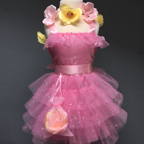 Satin Star Dress with Organza bag of 8 Silk Roses