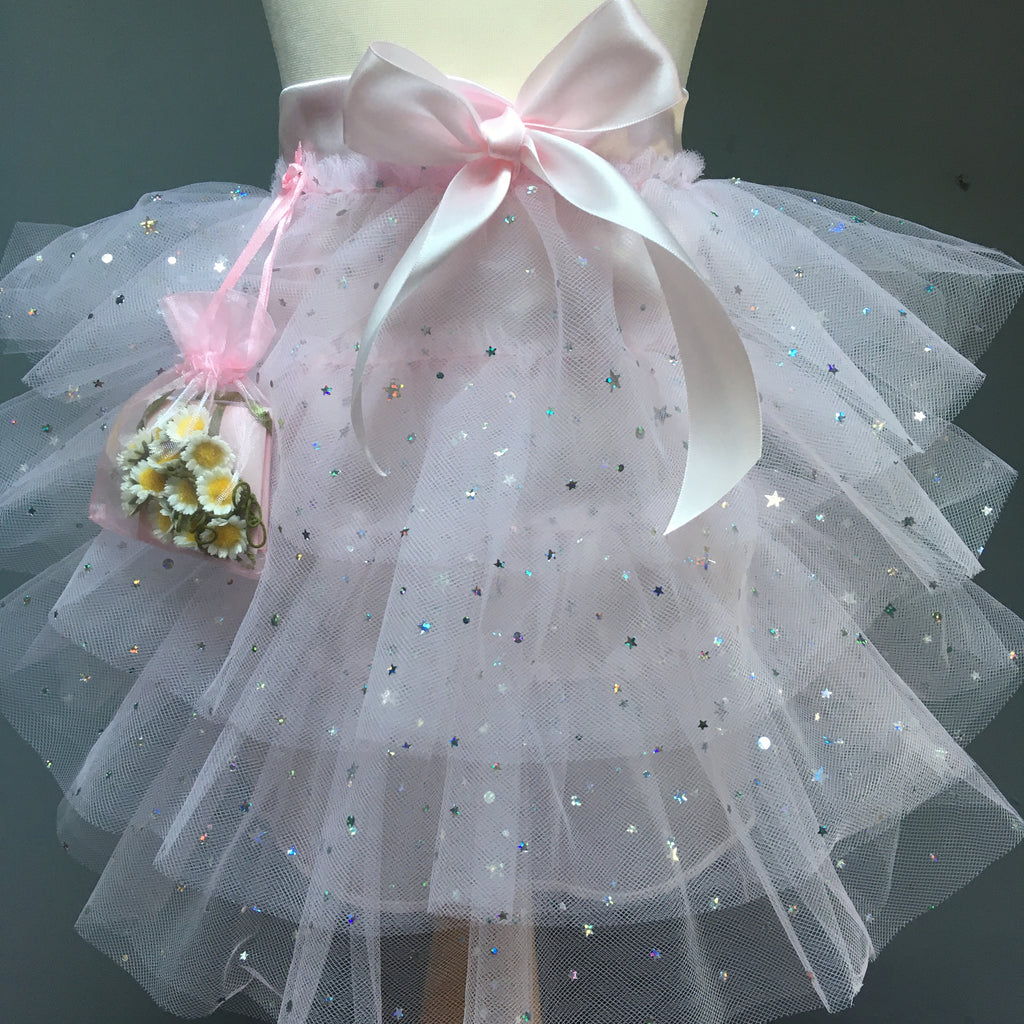 Satin Star Tutu Skirt with organza bag of 12 silk daisies
