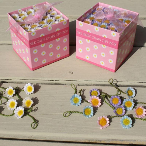 Square Gift Box - 40 white silk daisies or pastel silk daisies
