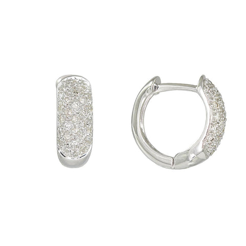 18ct White Gold 0.35 Carat Diamond Huggie Earrings