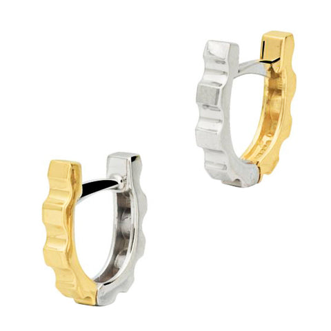 18ct White & Yellow Gold 11mm Reversible Huggie Earrings