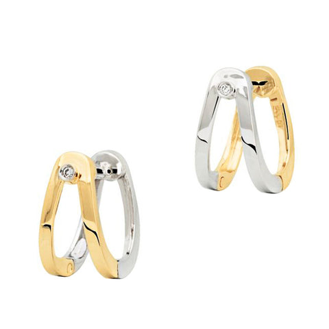 18ct White & Yellow Gold 12mm Reversible Diamond Huggie Earrings