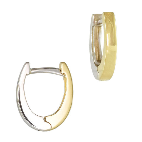 18ct White & Yellow Gold 11.5mm Reversible Huggie Earrings
