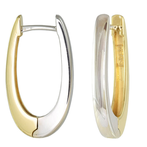 18ct White & Yellow Gold 22mm Reversible Hoop Earrings