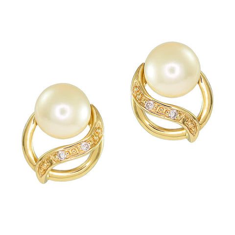 18ct Yellow Gold Pearl & Diamond Purity Earrings