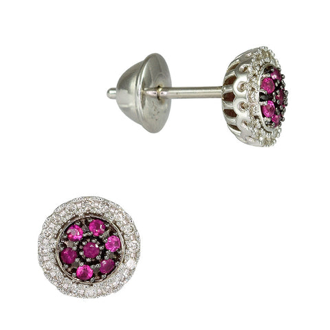 18ct White Gold 0.28ct Ruby & Diamond Cosmos Earrings