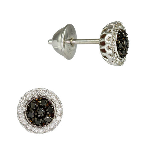 18ct White Gold 0.28ct Black & White Diamond Cosmos Earrings