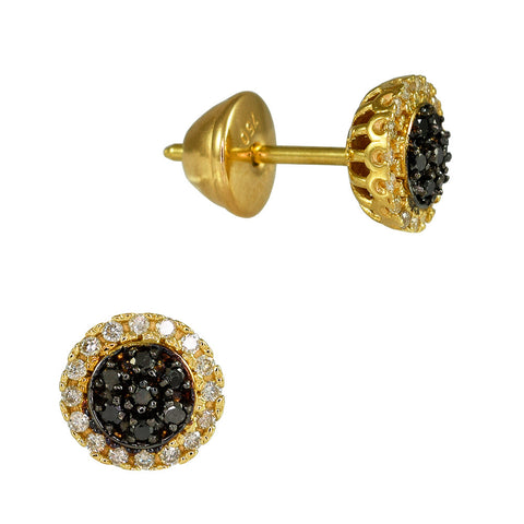 18ct Yellow Gold 0.28 ct Black & White Diamond Cosmos Earrings