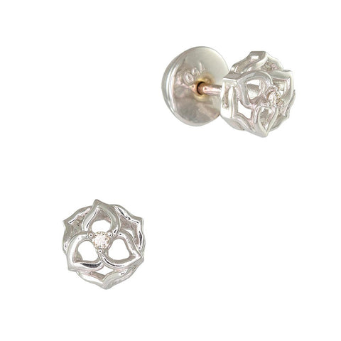 18ct White Gold Diamond Flower Earrings