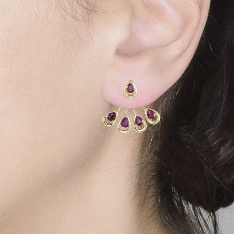 18ct Yellow Gold 1.53 carat Diamond & Ruby Marquise Earrings