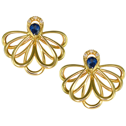 18ct Yellow Gold 0.33 carat Diamond & Sapphire Marquise Earrings