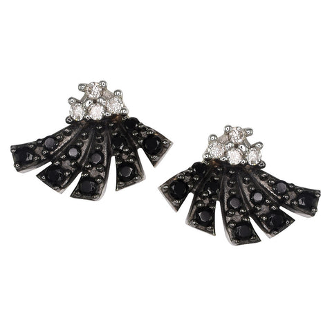 18ct White Gold 0.25 carat Black Spinel & White Diamond Dança Earrings