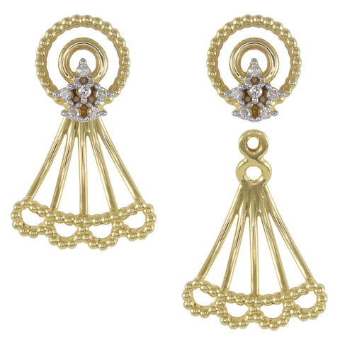 18ct Yellow Gold 0.07 carat Diamond Lace Earrings